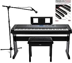 Yamaha DGX-660 88-Key Digital Grand Piano with ATR1200 Microphone, Mic Stand, Knox Flip Top Bench and Focus Piano Book Bundle