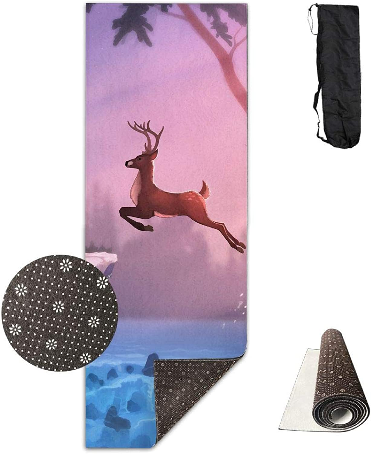 Yoga Mat Non Slip 24  X 71  Exercise Mats Deer Artwork Premium Fitness Pilates Carrying Strap