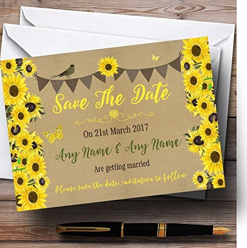 Rustic Sunflowers quality assurance Vintage Personalized Wedding The Wholesale Save Date Car