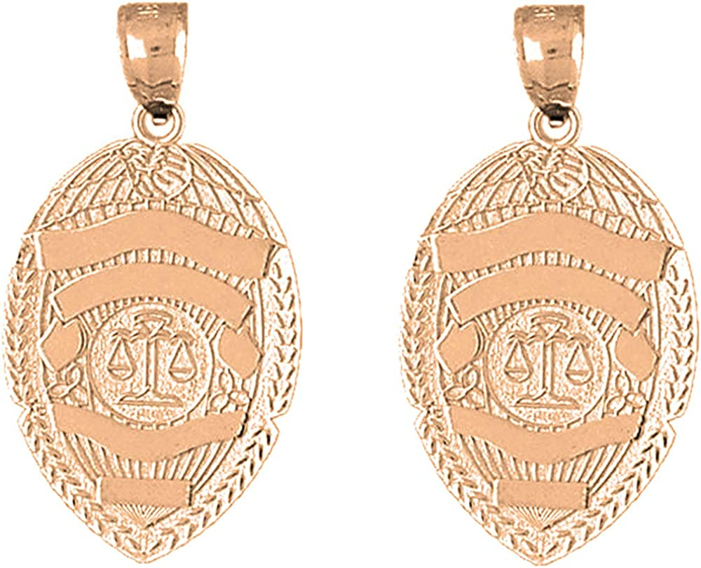 Los Angeles Mall Jewels Obsession Police Officer Earrings Gold Bombing free shipping Scales 14K Rose