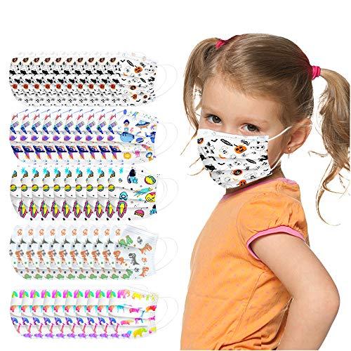 Eaylis 50 Stück Baumwolle Face Mask Kinder Cartoon Druck Verstellbarer Hängendes Ohr StaubschutZ Halstuch Kopftuch, Atmungsaktive Waschbar Half Face Halstuch für Jungen und Mädchen