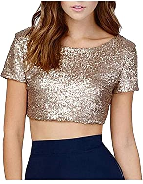 L'VOW Sexy Sequin Top Short Sleeve Bodycon Backless Crop Tops Club T Shirt Vest