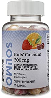 Amazon Brand - Solimo Kids' Calcium, 200mg, 60 Gummies (2 Gummies per Serving)
