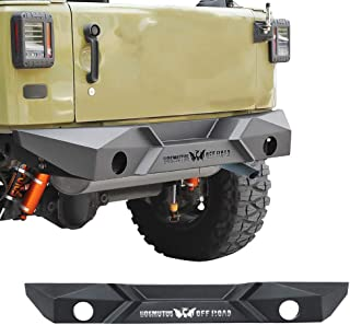 Steel +Rust Proof Off-Road Rear Bumper with Winch Plate Rock Crawler Bumper Textured Black Compatible for 2007-2018 J-eep Wrangler JK JKU Sahara Rubicon Sport