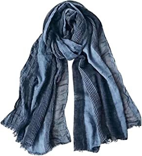 3a608a4ffcee2 GERINLY Cotton-Linen Scarves Mens Stripe Crinkle Long Scarf (Blue)