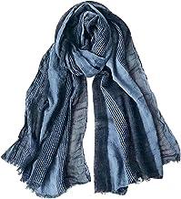 GERINLY Cotton-Linen Scarves Mens Stripe Crinkle Long Scarf