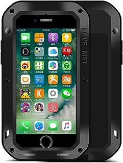 iPhone 7 Funda : Fonrest Love mei Poderosa armadura del metal de aluminio a prueba de golpes Gorilla Glass Snowproof Cubierta Carcasa Hermética al polvo para el iPhone 7 (iPhone 7, Negro)