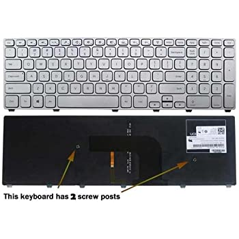 Laptop Keyboard Compatible for Dell Inspiron 17 7000 Series 7737 7746 US Silver Backlit Light Backlight
