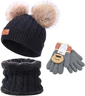 Anyingkai Cappello Invernale Bimbo,Cappello Bambina Invernale Pon Pon,Cappello Invernale Bambino,Maglia con Sciarpa,Bambin...