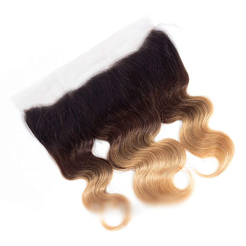 解決カレッジ自体YESONEEP 13x4レース前頭閉鎖ブラジル実体波巻き毛100%人毛1B / 4/27 3トーンカラー女性のための短い巻き毛のかつら茶色のかつら (Color : ブラウン, サイズ : 10 inch)