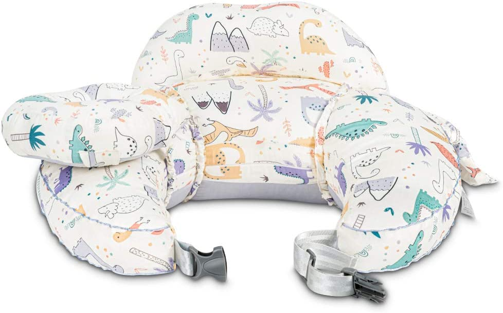 PAMYO Nursing Pillow and Positioner for Baby Breastfeeding with Detachable Pocket, Head Pillow & Surround Pillow