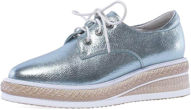 YAN Damenplattform Schuhe, Turnschuhe, Breathable Schuhe Leder Leder Leder Low-Top Casual Schuhe Outdoor Walking Schuhe,A,38  05459b