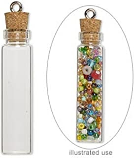20 Mini Glass Bottles 1-3/4 inch (45x11mm) Message Treasure Charm Pendant Kit Makes 20 Bottle Pendants