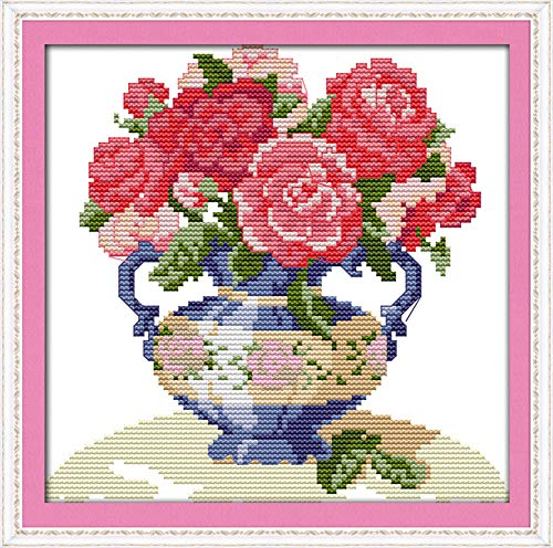 Cross Stitch Kits, Awesocrafts The Peony Vase Flowers Cross Stitching Embroidery Kit Supplies Christmas, Stamped or Counted (Flowers, Counted)