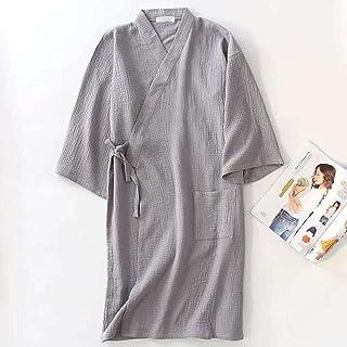 SDCVRE Badrock pyjamas Bomullspar Badrock Solid Crepe Gaze Robe V-ring Japan Kimono Style Bröllopskläder Nattkläder Plus S...