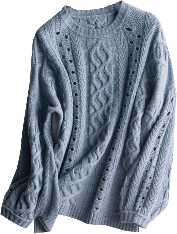 Women Fashion Crewneck Sweater Cotton Blend Cable Knit Sweater