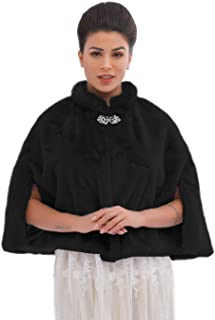Ushiny, coprispalle da sposa in ecopelliccia, adatto per l'inverno, ideale per donne e ragazze