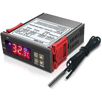 DiyStudio STC-3000 LCD デジタル温度コントローラーDC 12V高精度 電子サーモスタット温度計インテリジェント加熱冷却スイッチモード防水NTC温度センサープローブ付き スナップデザイン高輝度ディスプレイ説明書付き【2020令和最新版】