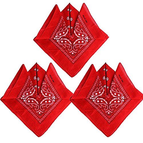 QUMAO Pack de 3 Pañuelos Bandanas de Modelo de Paisley para Cuello/Cabeza Multicolor Múltiple 100% Algodón para Mujer y Hombre (Pack de 3; Rojo)
