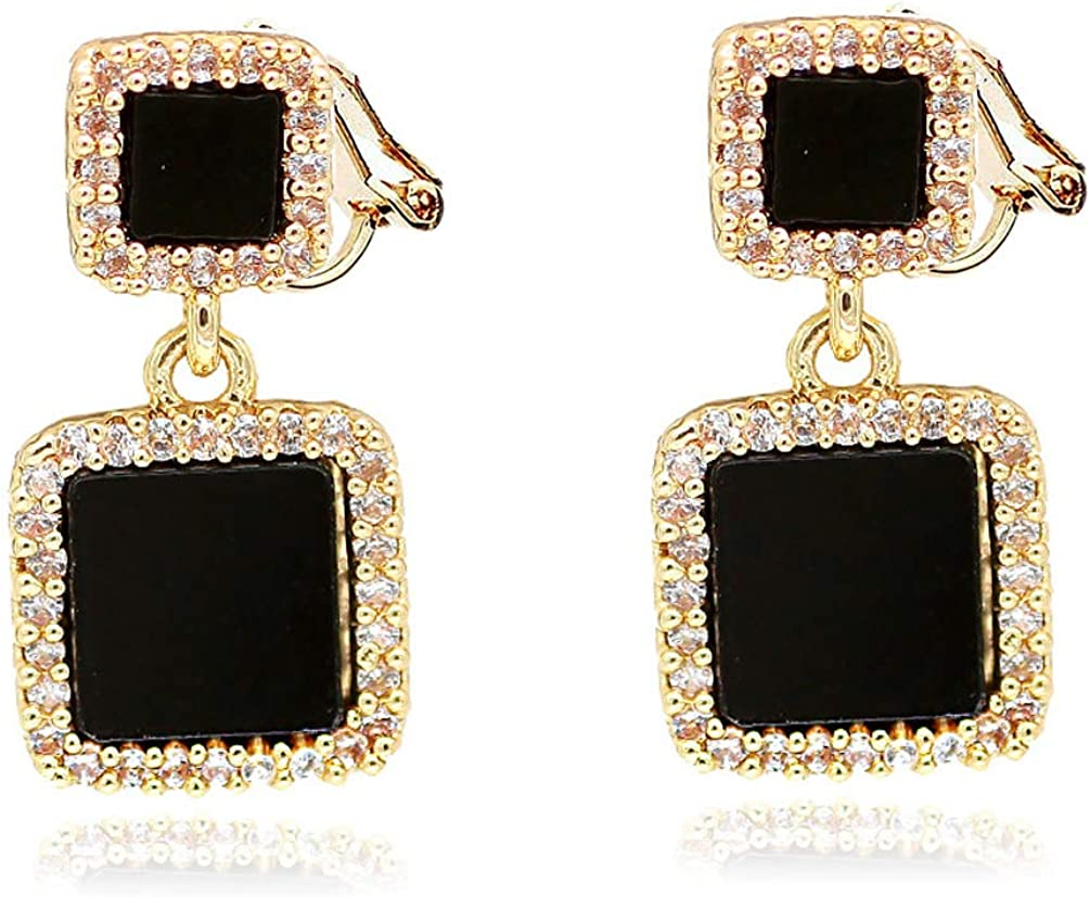 Black Double Square Clip on Dangling Earrings non Pierced Crystal Gold Tone for Women Girls Prom Fashion
