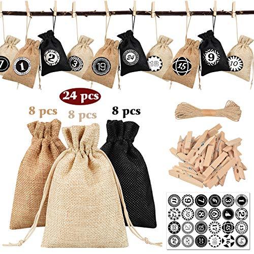 heekpek Baumwolle Säckchen mit Kordelzug 24 Stück,Jutesäckchen Stoffbeutel für Kindergeburtstag Hochzeit Party DIY Handwerk Mitbringsel