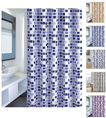 "MSV Cotexsa by 142103 Premium Anti-Schimmel Textil Duschvorhang - Anti-Bakteriell mit 12 Duschvorhangringen - Polyester, ""Mosaik"" Blau 180x200cm – Made in Spain"