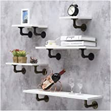 LIANGJUN Wall-mounted Storage Floating Shelves Retro Industrial Wind Wrought Iron Water Pipe Bookshelf Show Photo Bar Rest...