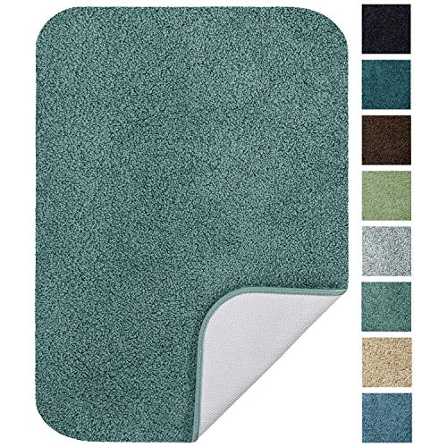 Maples Rugs Softec Non Slip Washable & Quick Dry Soft Bathroom Rugs [Made in USA], 17' x 24', Seafoam