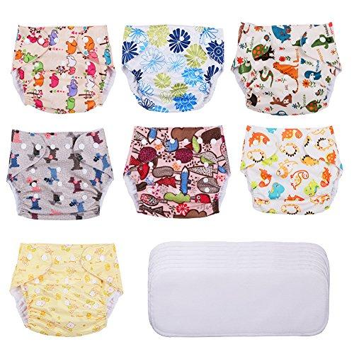 YISSVIC Couche Lavable Bébé Couche Culotte Piscine 7pcs en Tissu Avec Insert Lavable Bambou et Sac...