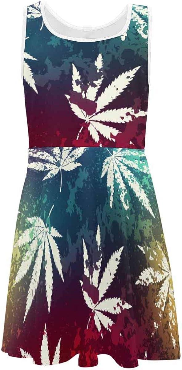 InterestPrint Classic Girls Sleeveless Dress Summer Casual Dresses Rainbow Color Maze Patterns (2T-XL)