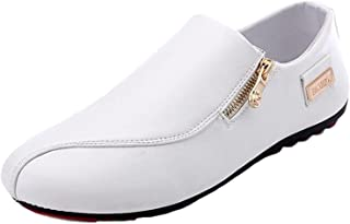 Mens Formal Metal Buckle Plain Shoes Pointed Toe Casual Canvas Loafers Slip On
