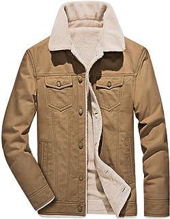 Fuwenni Men's Casual Cotton Sherpa Fleece Lined Miliary Trucker Jackets Warm Coat with Fur Collar
