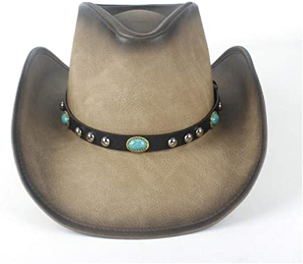 2019 Women Womens Unisex Retro Vintage Western Cowboy for Women with Turquoise Leather Band Fedora Cowgirl Caps for Gentleman Beach Sun Hat Casual Fashion (Color : Tan, Size : 58-59)