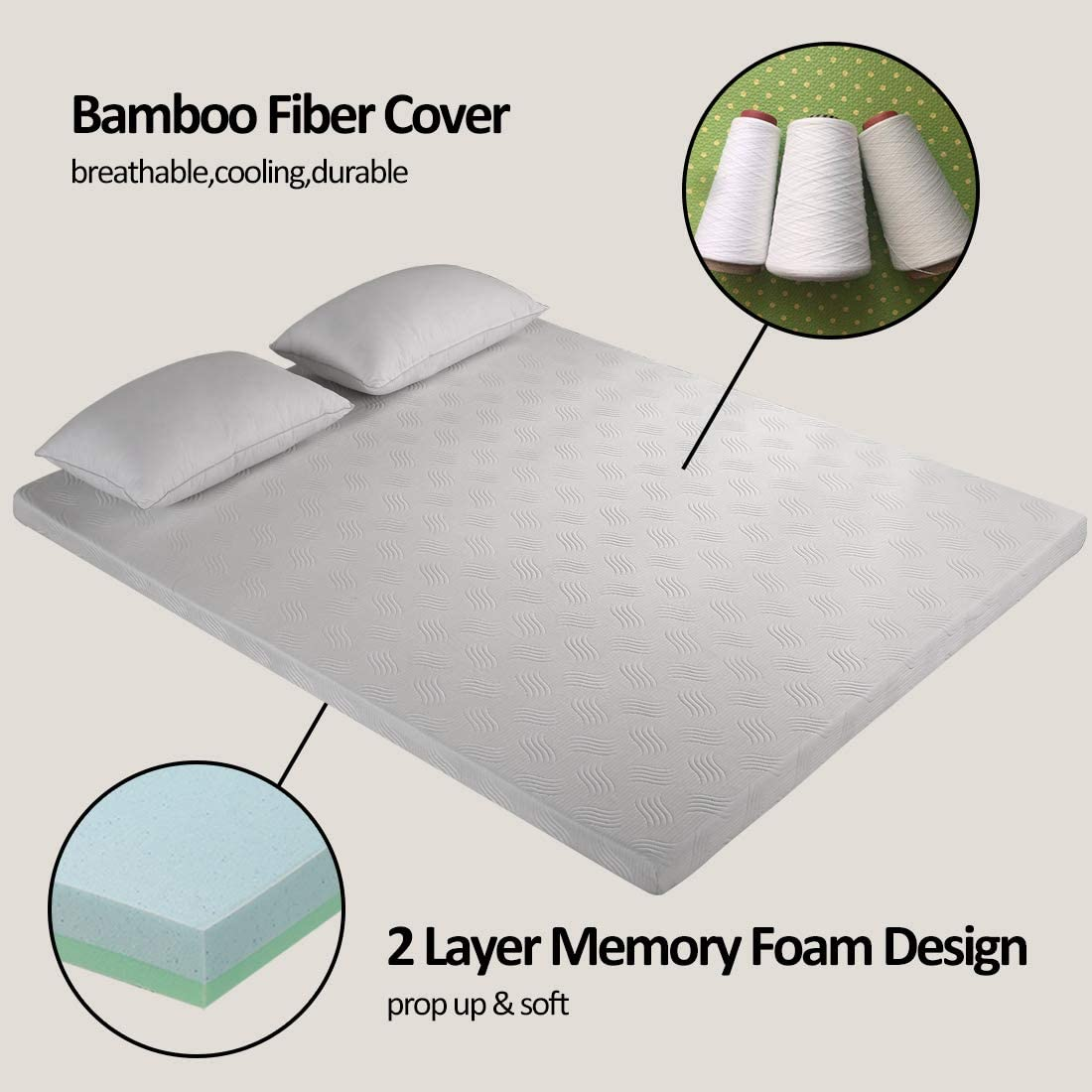 Cooling Relieving Mattress Pad for Bed with Bamboo Fiber Cover FAIRYLAND 3 Inch Memory Foam Mattress Topper Queen Size