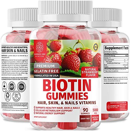 N1N Premium Biotin Gummies [Max Strength, 5000mcg] All Natural Biotin Vitamins for Hair, Skin and Nails for Men & Women, 90 Gummies