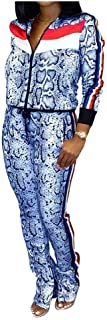 Howely Women's Strip Workout Gym 2-Piece Patterned Long Sleeve Sport Jumpsuit