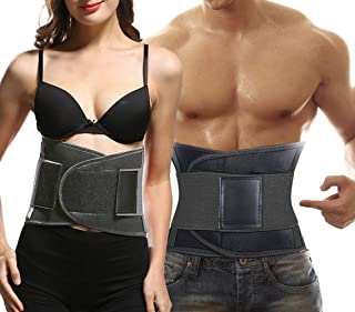 whamz Upgraded Version Sweat Belt Waist Trainer for Women & Men - Elastic Waist Ab Cincher Trainer Trimmer, Neoprene Hourglass Slimming Body Shaper,Compression Band Workout,Adjustable Back Support