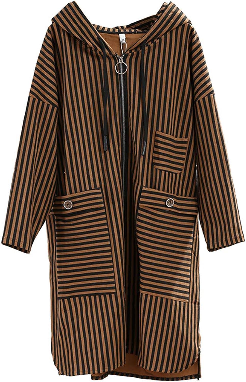 Women's Windbreaker, Loose Large Size Contrast color Striped Hooded Windbreaker Literary Female Autumn Large Pockets Slim Zipper Casual Jacket