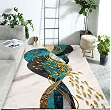 Modern Abstract Rug Blue Carpet with Goldfish Big Carpet Nordic 3D Carpet Large Room Decoration for Family Living Room Lar...