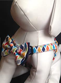Step in Dog Harness with Bow Tie, Blue Rhombus Argyle, Adjustable Pet Harness Sizes XXS, XS, S, M