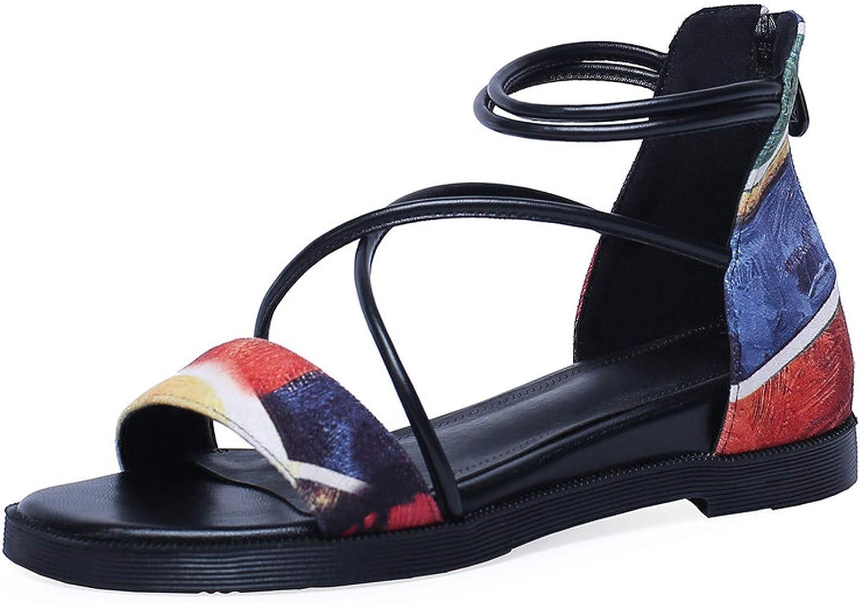 Yeenvan Women Zip Low Heels Wedges Summer shoes Casual Genuine Leather shoes Women Comfortable