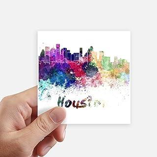 Houston America City Watercolor Sticker Square Waterproof Stickers Wallpaper Car Decal