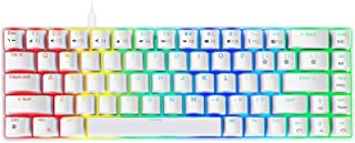NPET ゲーミングキーボード 有線 青軸 メカニカルキーボード 白い LED バックライト 着脱式ケーブル 角度調節可能 全キーロールオーバー対応 2年間無償品質保証 キーキャッププーラー付き (青軸 メカニカル ゲーミングキーボード US配...