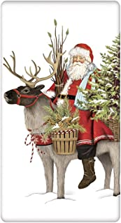 Mary Lake-Thompson Christmas Pine Tree Santa and Reindeer 100% Cotton Flour Sack Dish Tea Towel 30