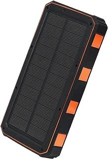 20000mAh Solar Power Bank, 10W Fast Qi Trådlös laddare Vattentät Powerbank med Camping Flashlight Portable Charger Poverba...