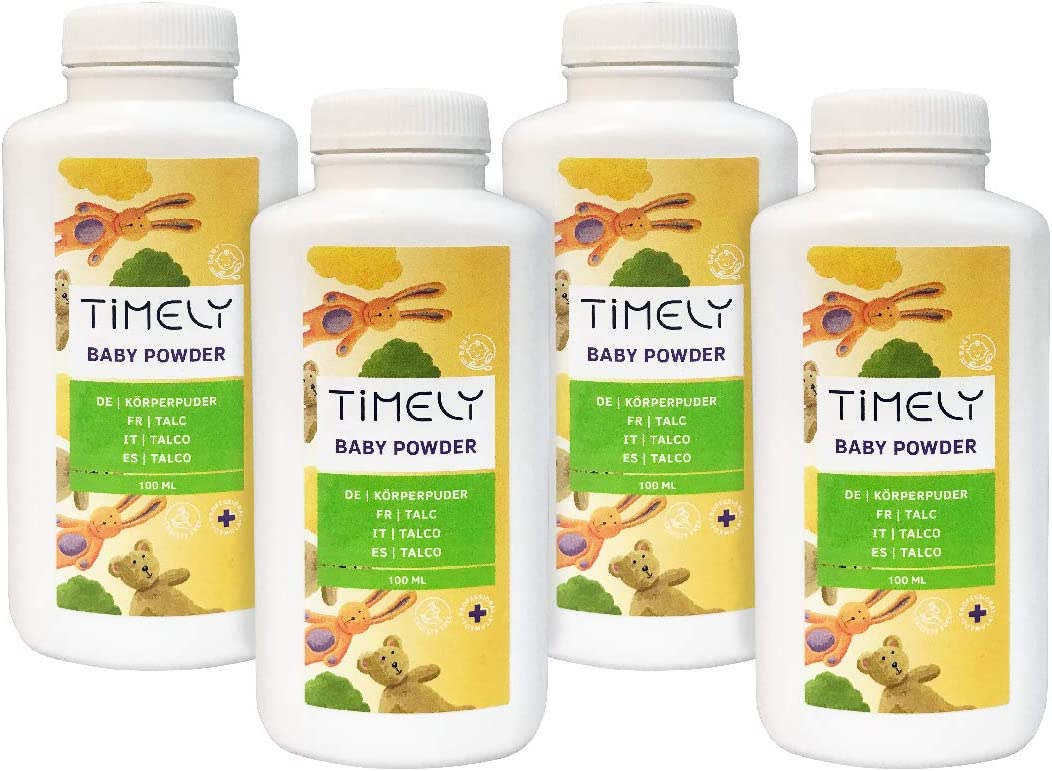Timely Baby Powder for Sore Spots and Sweating, (Pack of 4 x 100 g)