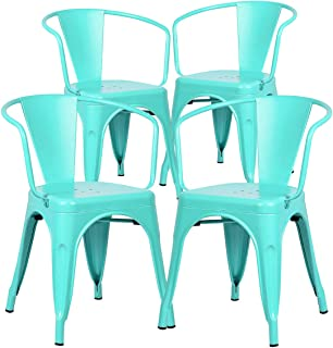 Poly and Bark Trattoria Modern Mid-Century Dining Kitchen Metal Side Arm Chair in Aqua (Set of 4)
