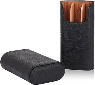 GALINER Cigar Case Genuine LeatheCedar Wood Lined Cigar Holder 60 Gauge Cigar Portable Travel Box 3 Cigars Mini Humidor (Black)