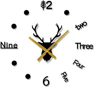 3D DIY Mirror Surface Wall Clock, Deer Head Large Size Wall Decor Clocks, for Office, Living Room, Bedroom