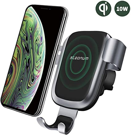 Wireless Car Charger, Steanum Fast Gravity Car Mount Qi Car Charger Air Vent Phone Holder, 10W Fast Charging Compatible with Samsung Galaxy S9 S8 S7/S7 Edge, Note 5, 7.5W Compatible with iPhone XR/XS/XS Max/X/8/8 Plus and Qi Enabled Devices